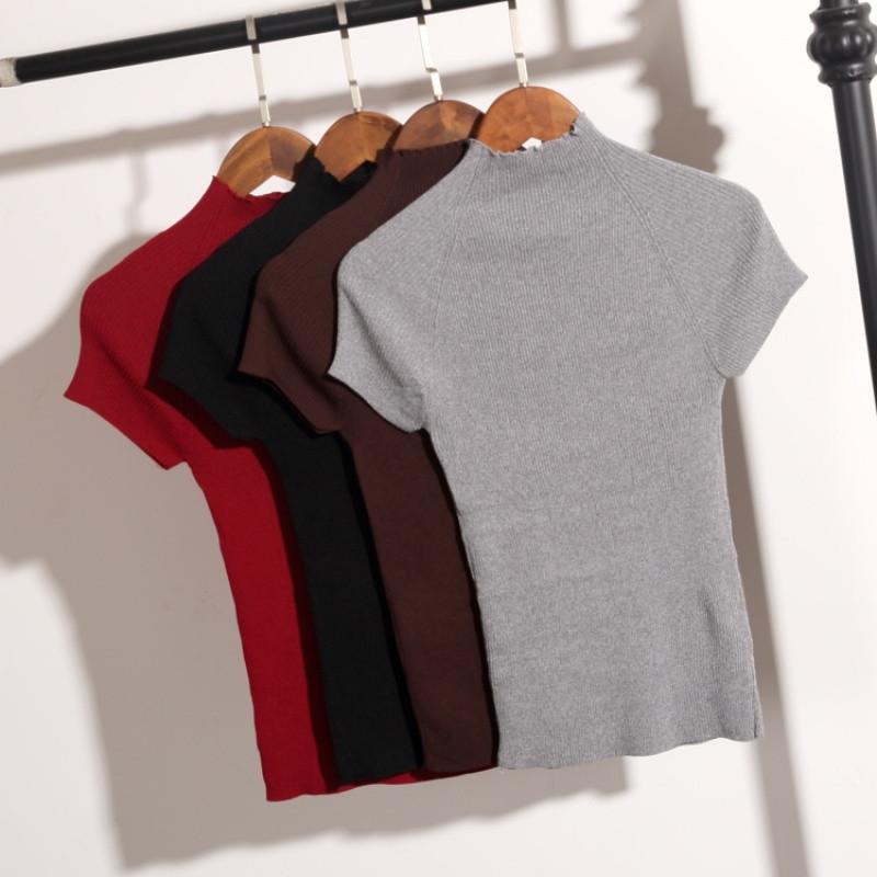 娉语春季韩版显瘦半高领短袖针织衫女薄款小衫紧身短袖冰丝t恤打底衫