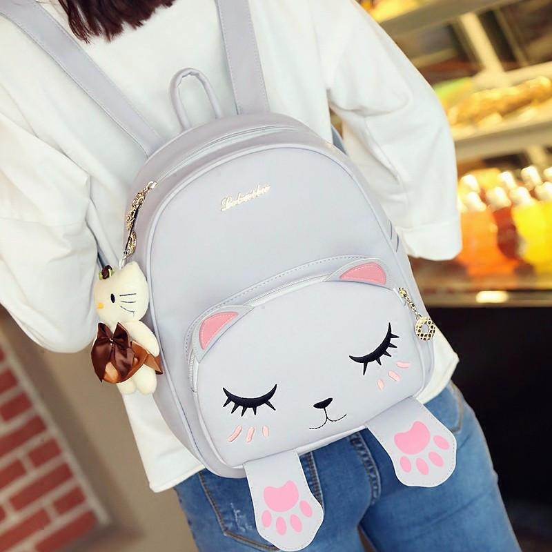 娉语pu卡通双肩包女学生书包小猫咪可爱韩版潮休闲软妹子甜美淑女背包