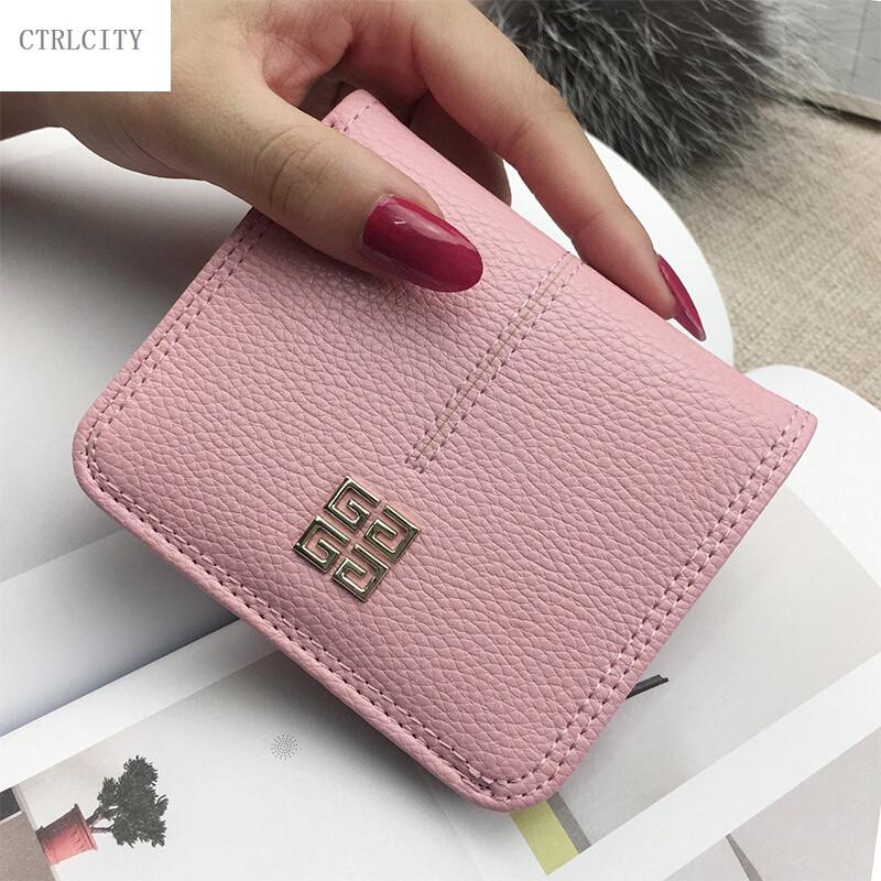 ctrlcity新款女士超薄迷你短款小钱包搭扣两折软皮夹女式学生韩版