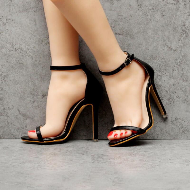 ctrlcity欧美新款超高跟鞋性感露趾凉鞋细跟鞋一字扣带简约百搭凉鞋女