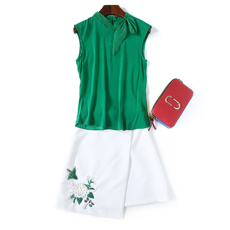 ctrlcity欧洲站女装夏季新款时尚飘带领背心刺绣半裙套装