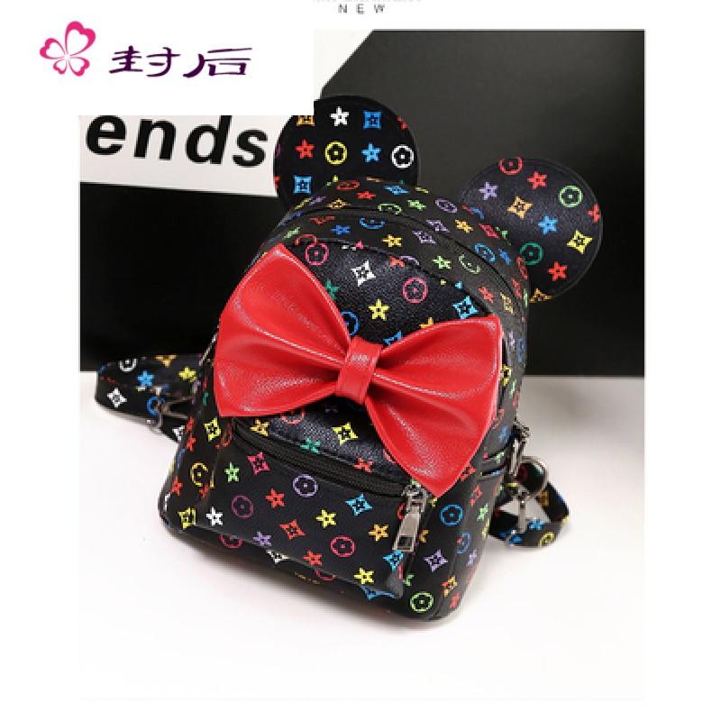 封后新款女童米奇双肩包幼儿园儿童小书包可爱蝴蝶结外出休闲旅游包