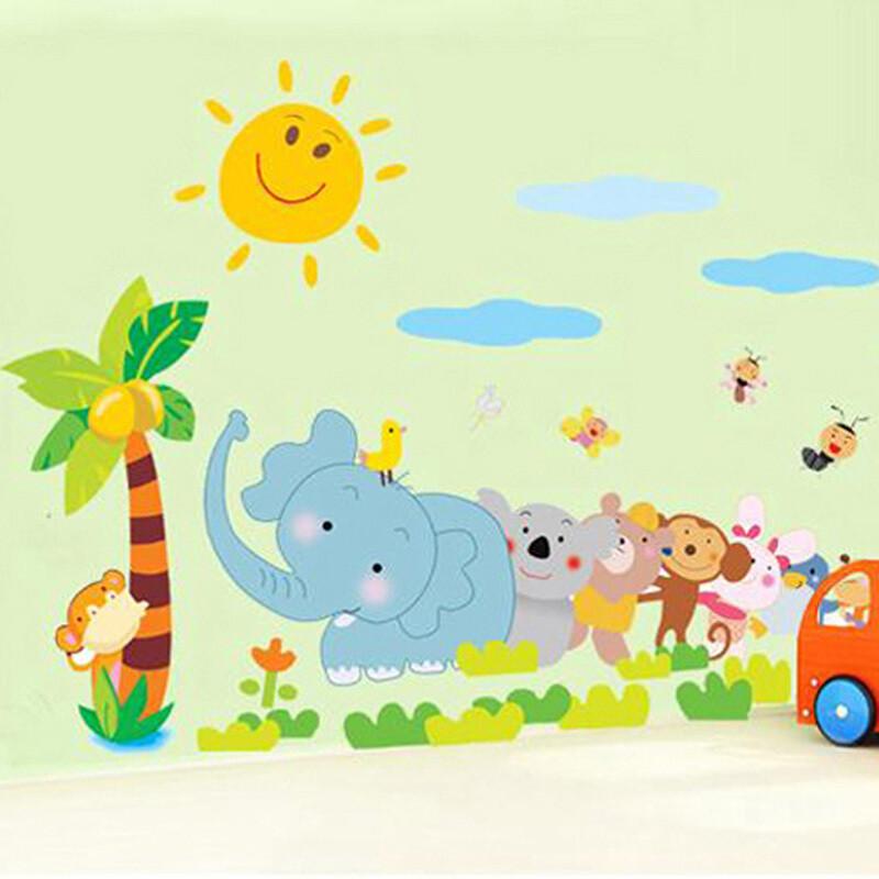 男孩女孩婴儿可爱卡通动物墙画贴纸