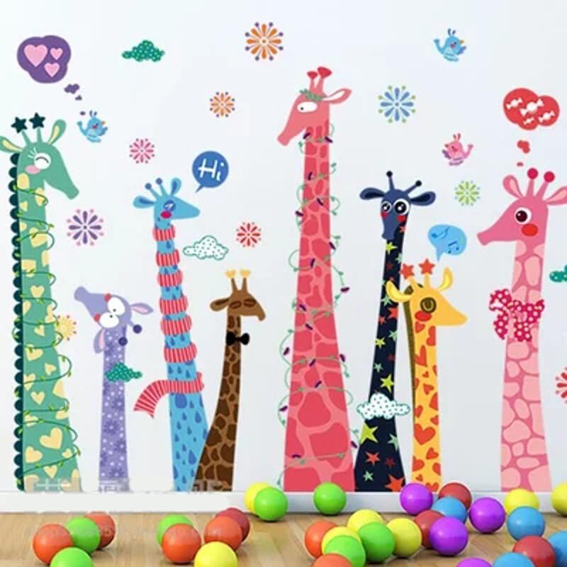 宜佳蕙可移除彩色长颈鹿动物儿童房幼儿园玻璃门窗卡通墙贴画墙贴纸