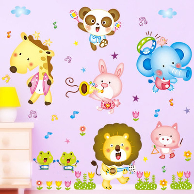 儿童房幼儿园客厅卧室床头森林音乐会动物乐队可移除卡通墙贴纸画