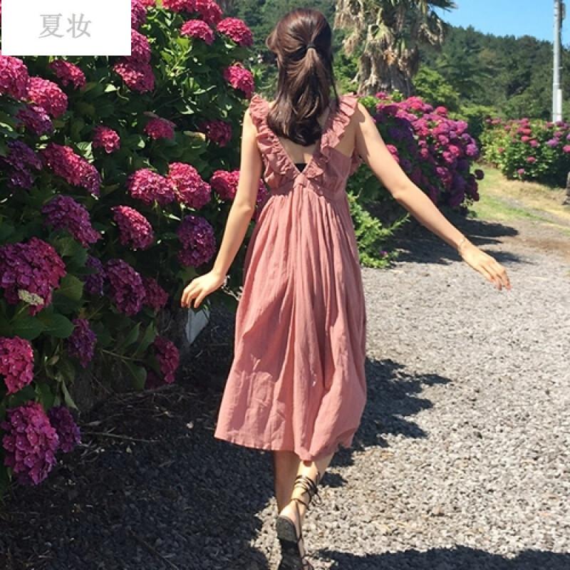 29韩国 夏装新款 可爱的你 木耳边高腰纯色连衣裙 深粉 均码