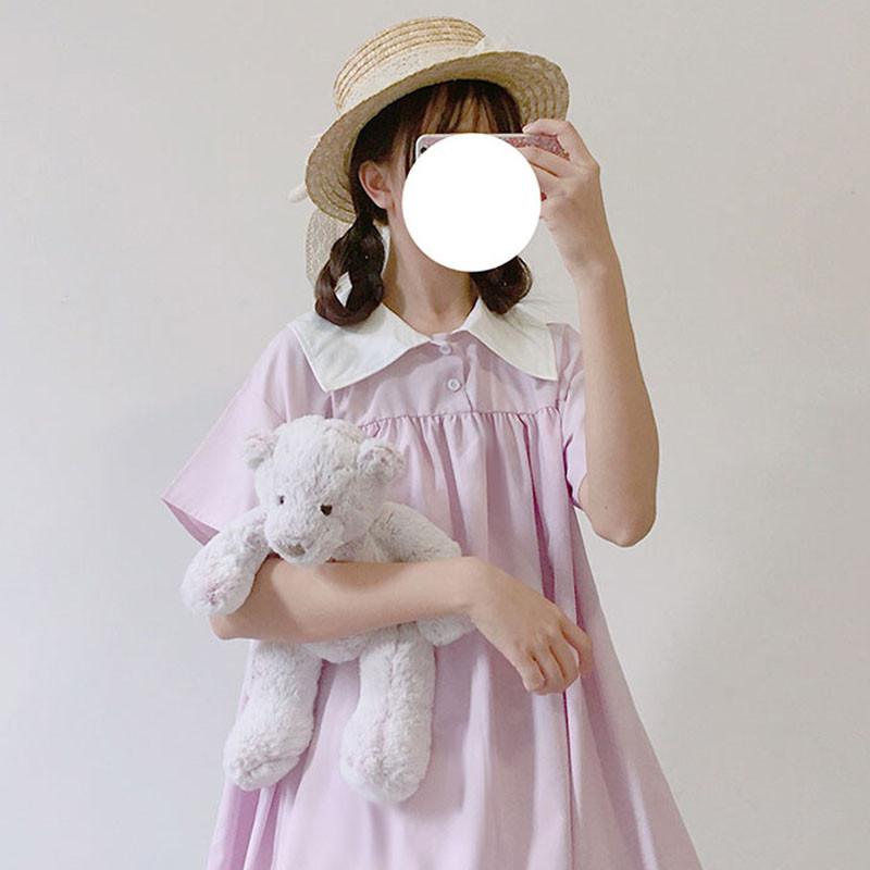 828新款2017新款夏季女装韩版学生日系可爱软妹少女中长款短袖裙子