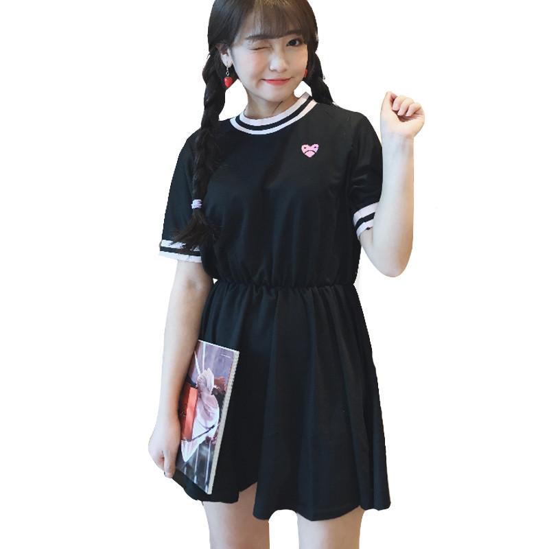 828新款日系软妹春夏女装可爱爱心刺绣收腰短袖连衣裙韩版学生裙子