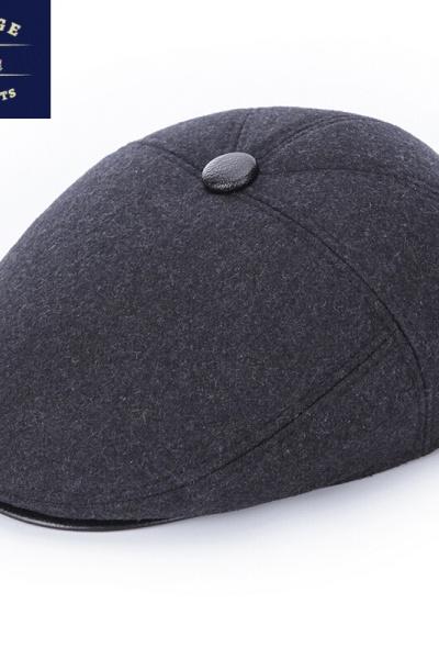 老人帽子男士秋毛呢帽中老年保暖鴨舌護耳前進帽爺爺爸爸老頭帽