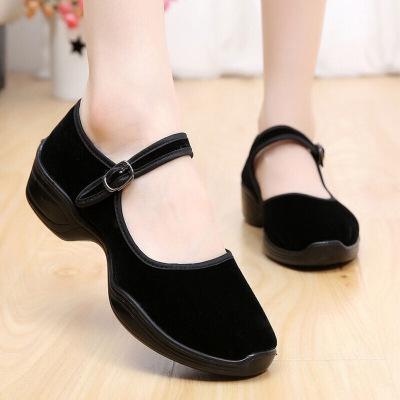 新款老北京女士舞蹈布鞋黑色系带单鞋广场舞运动休闲鞋XWB黑色A9-129