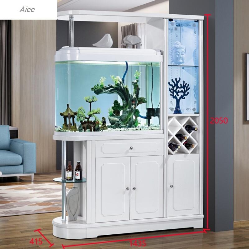aiee小户型白客厅简约现代进门玄关柜隔断柜酒柜吧台间厅柜鱼缸1.