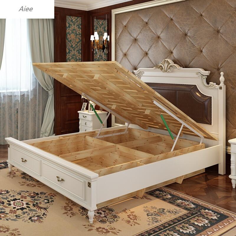 aiee美式实木床白色卧室储物床欧式地中海抽屉公主床婚床高箱床双人床图片