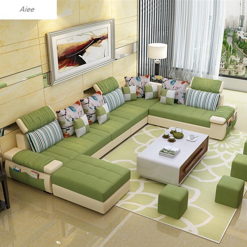 aiee布艺沙发大小户型客厅组合u型转角可拆洗小清新布