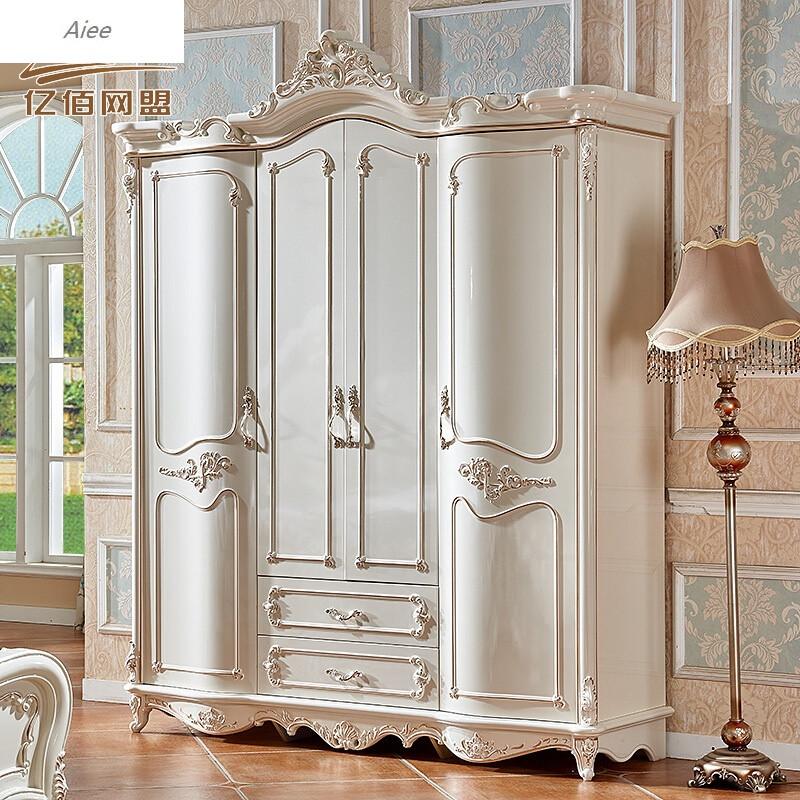 aiee欧式四门衣柜2米衣柜实木珠光烤漆衣柜描金象牙白