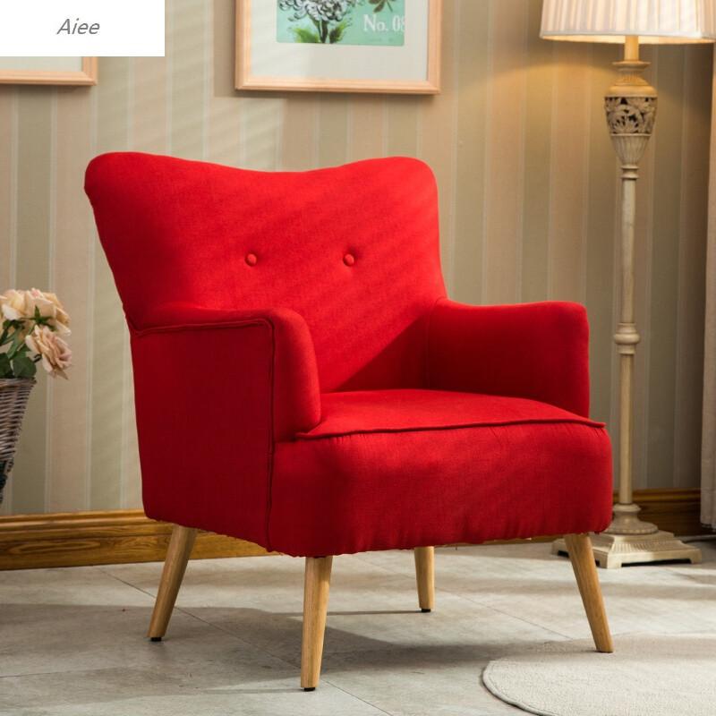 aiee北欧单人沙发椅卧室咖啡厅客厅现代卧室地中海沙发美式布艺沙发红