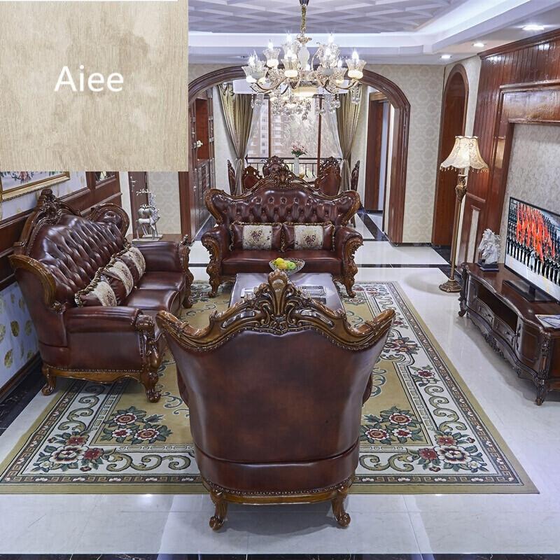 aiee欧式沙发组合客厅双面雕花3展示别墅真皮沙发欧式新古典家具
