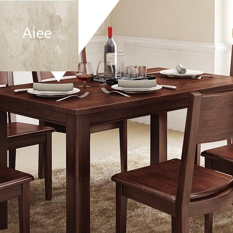 aiee美式乡村实木客厅长方形餐桌椅组合小户型餐厅饭桌复古环保家具胡图片