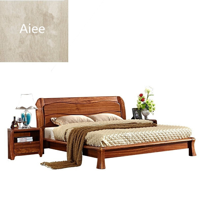 aiee家具现代新中式实木床双人床1.8米实木高箱床乌金