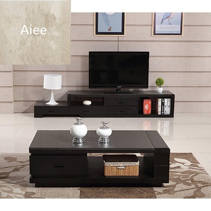 aiee火烧石茶几电视柜组合简约现代小户型客厅黑色实木茶桌地柜组合