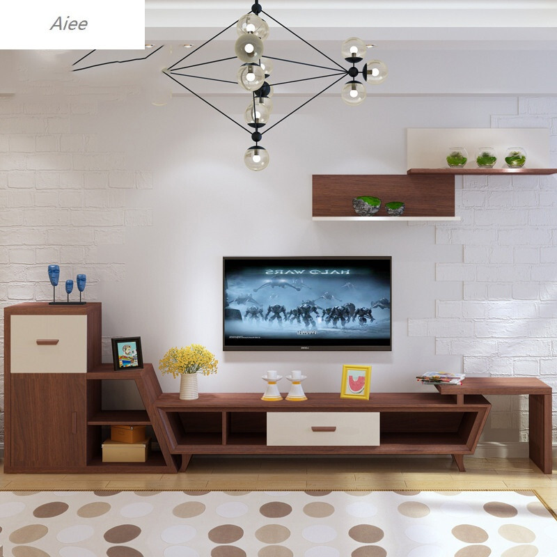 aiee北欧实木电视柜客厅小户型黑胡桃木地柜创意时尚电视柜茶几组合