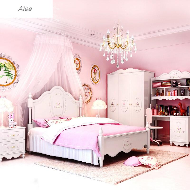 aiee儿童房家具组合套装儿童床女孩公主床卧室套房儿童成套家具