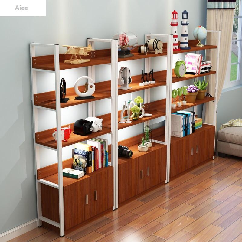 aiee创意钢木书架置物架简约现代隔断客厅储物陈列柜简易展示架子落地
