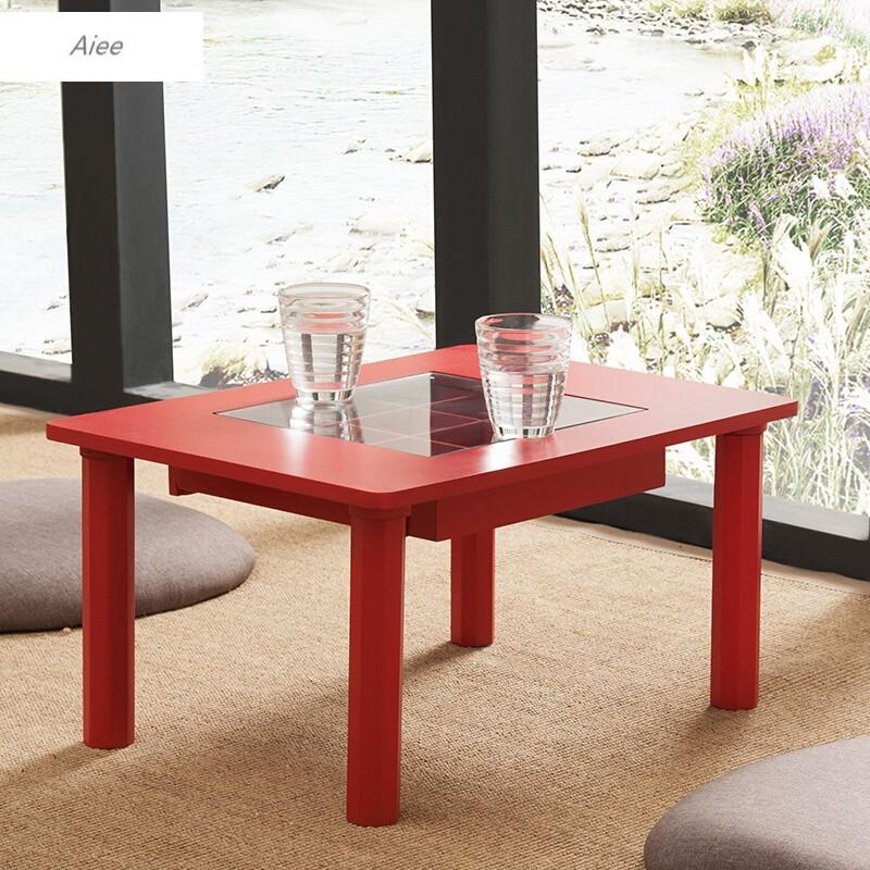 aiee小户型玻璃茶几简约现代时尚创意长方形客厅可折叠茶桌板式桌子