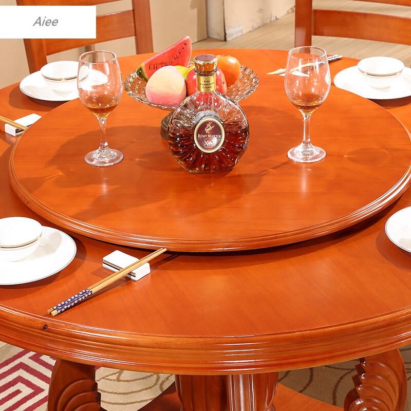 aiee实木餐桌椅组合8人橡木圆形饭桌圆桌1.3米1.5米1.8米大圆桌带转盘