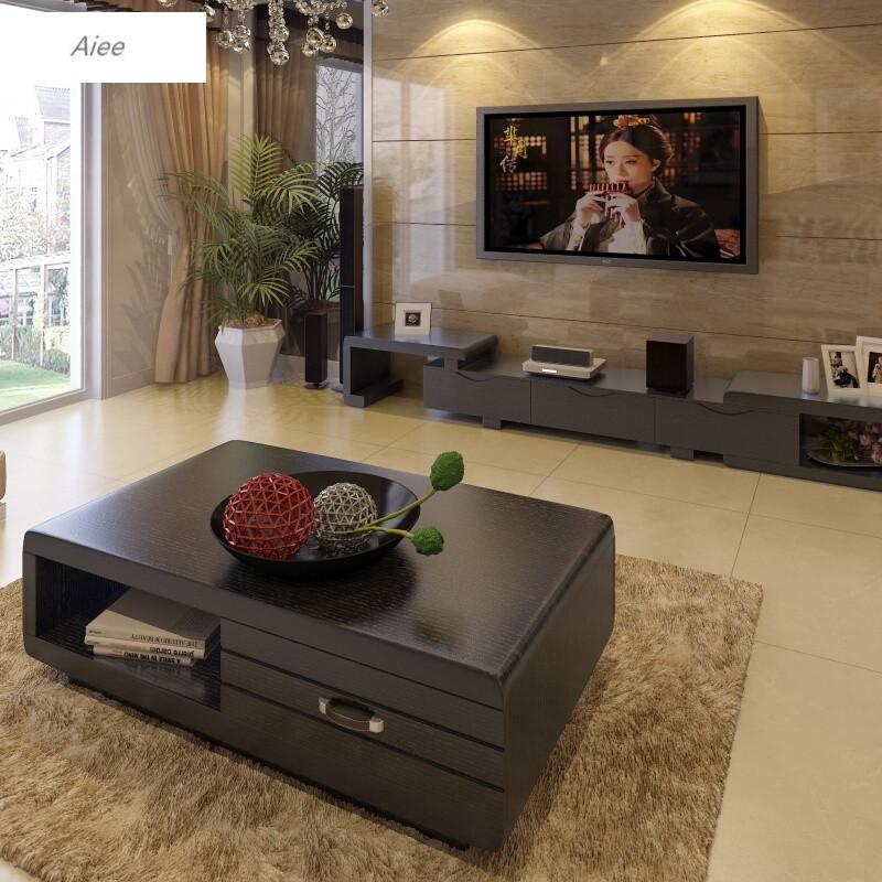 aiee小户型客厅时尚创意简约现代实木整装电视柜组合茶几地柜140*80*