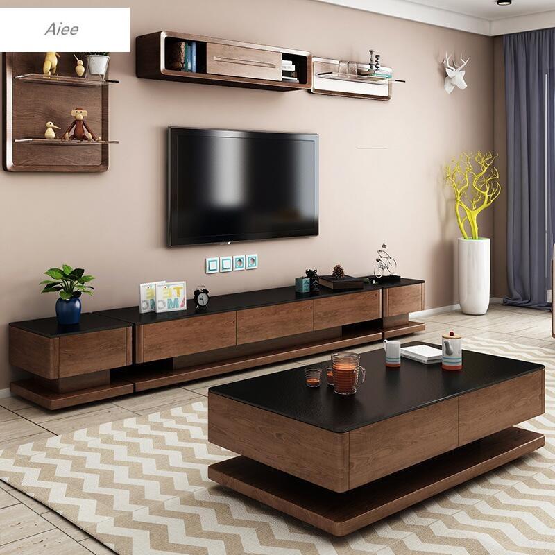 aiee客厅北欧火烧石茶几电视柜组合套装现代简约火山石茶桌创意家具