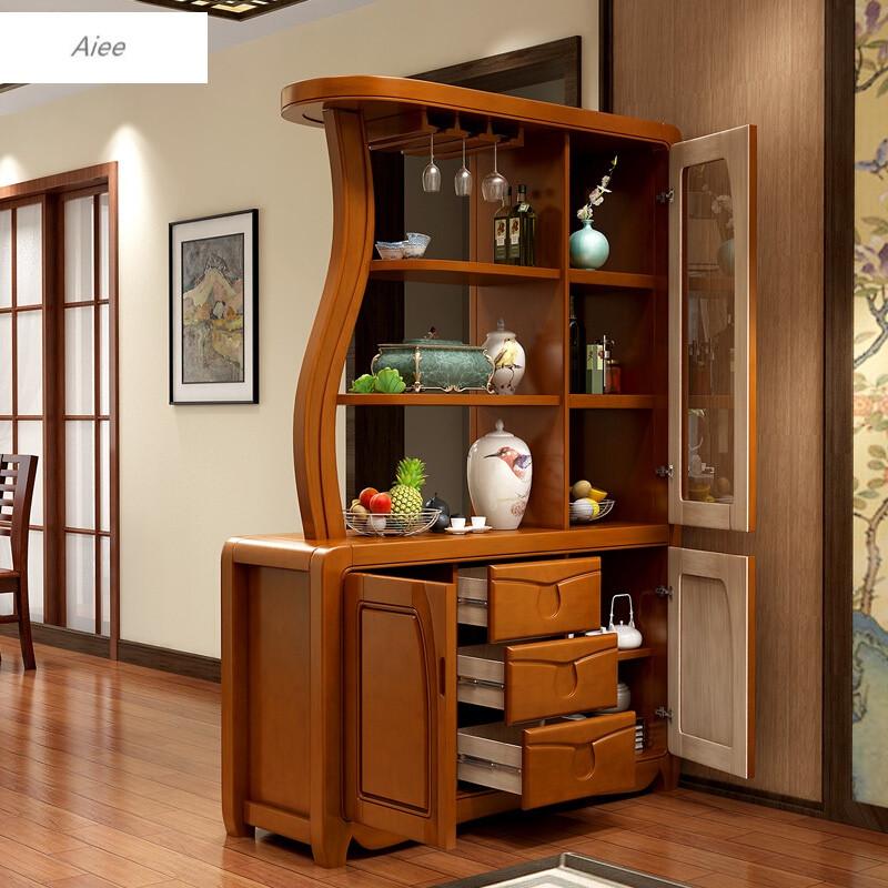 aiee現代中式實木間廳柜餐廳客廳家具隔斷柜裝飾屏風玄關柜鞋柜酒架圖片