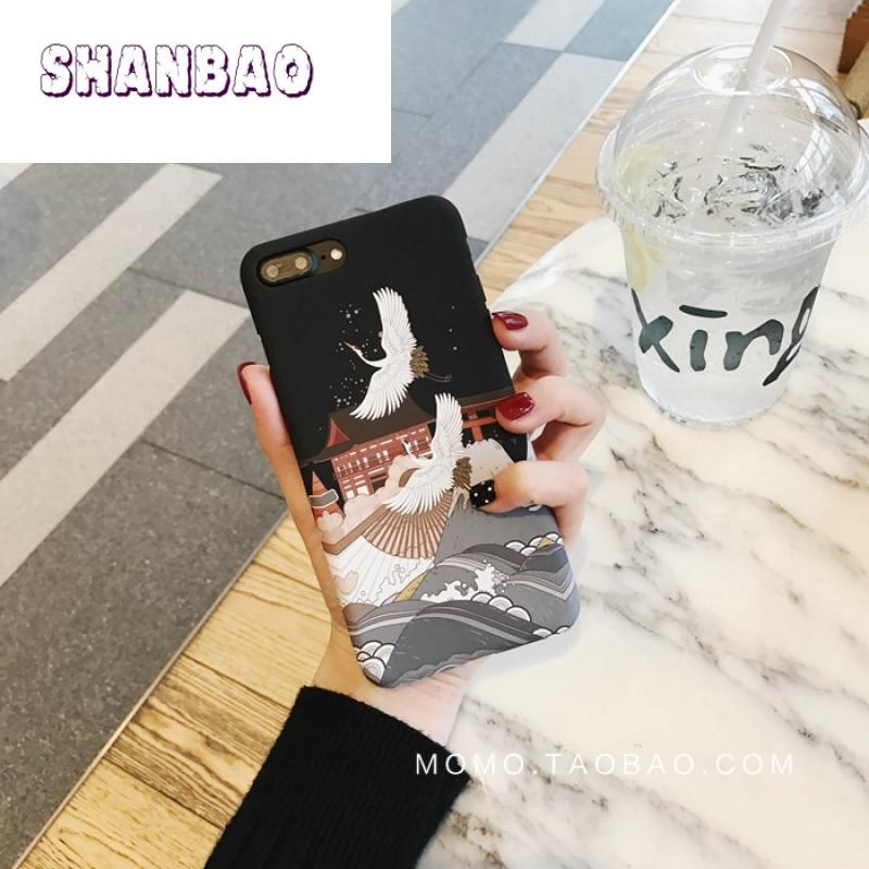shanbao复古日系和风仙鹤苹果7手机壳iphone6/6s/plus