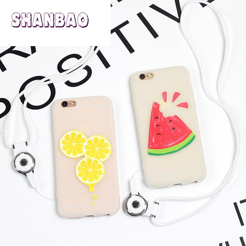 shanbao夏日清新西瓜柠檬苹果6s手机壳iphone6 7plus磨砂硅胶软壳潮女