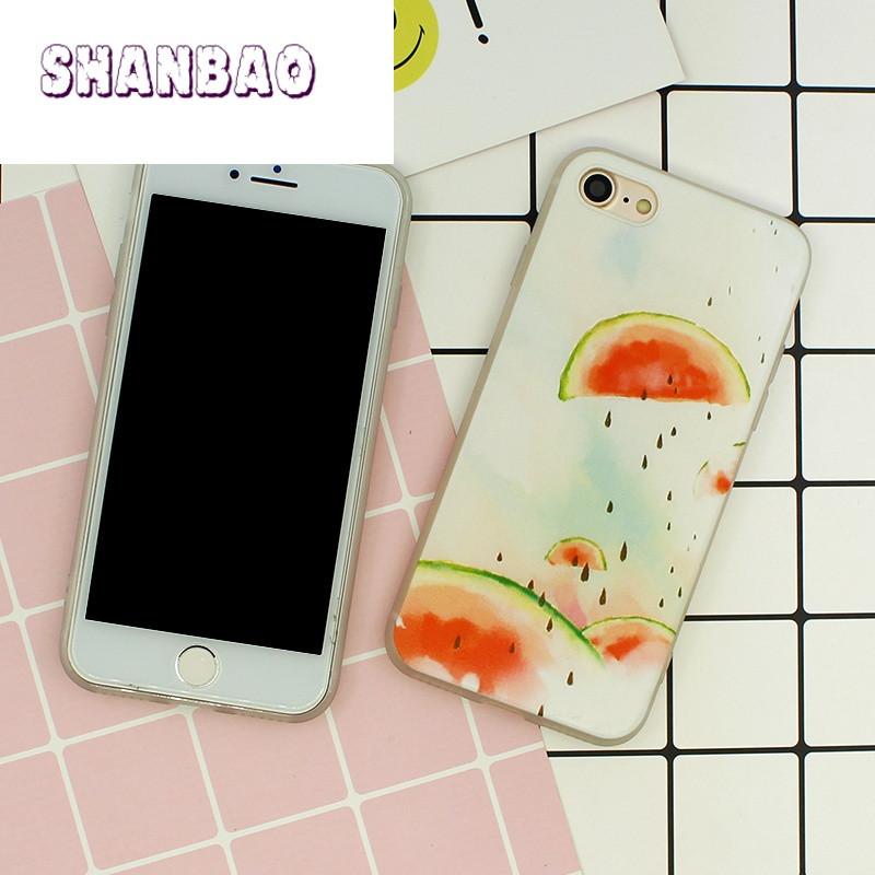 shanbao夏日小清新iphone7苹果6手机壳全包硅胶软7plus保护套4.