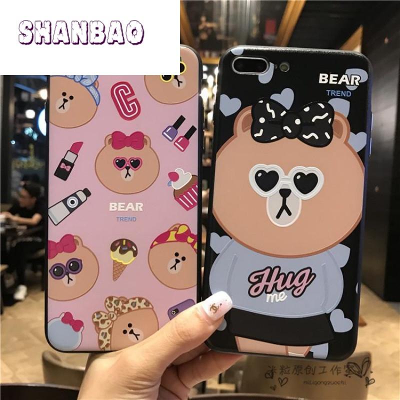 shanbao情侣小熊iphone7浮雕手机壳 苹果6splus挂绳硅胶套7可爱动物潮
