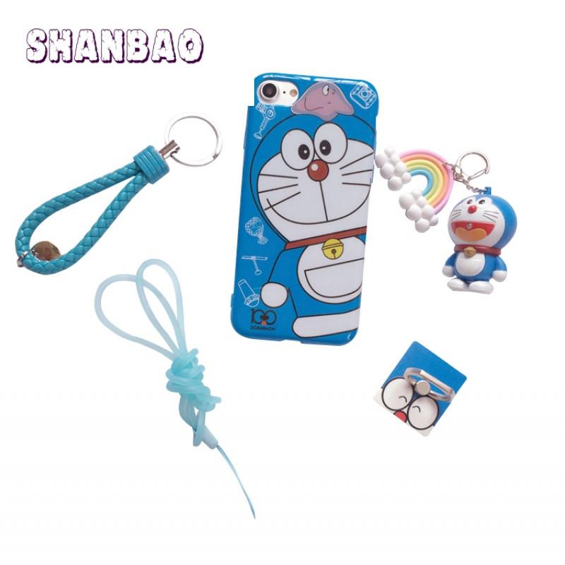 shanbaoiphone8多啦a梦手机壳苹果 7/6/6splus超萌可爱卡通挂绳5se