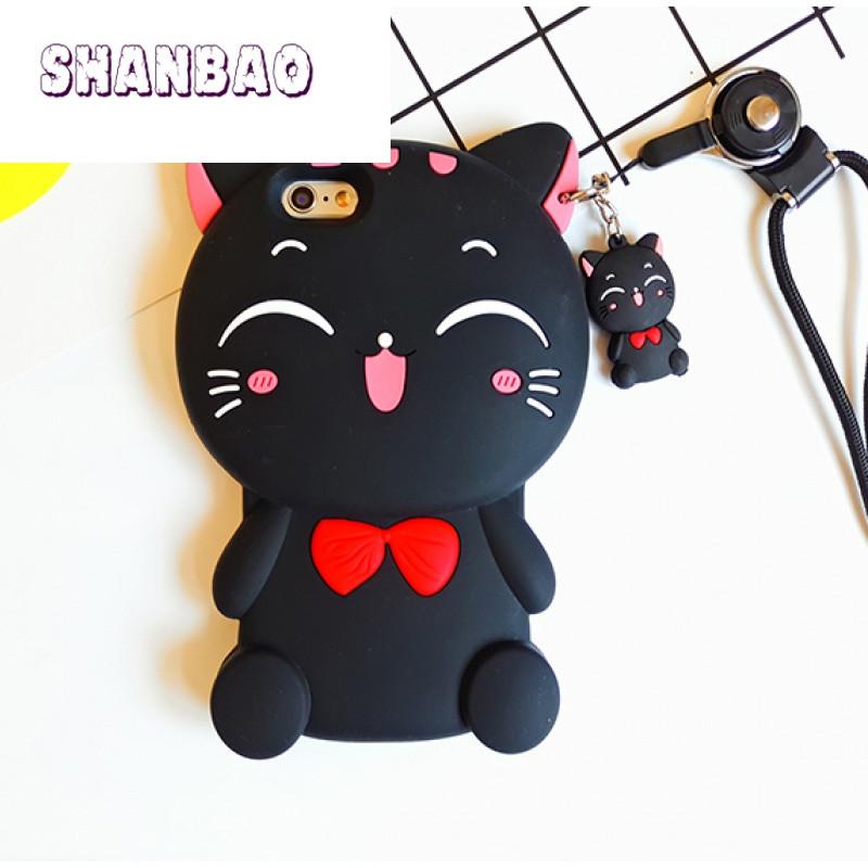 shanbao苹果7 韩国卡通可爱猫咪iphone6s plus手机壳立体硅胶挂绳5se