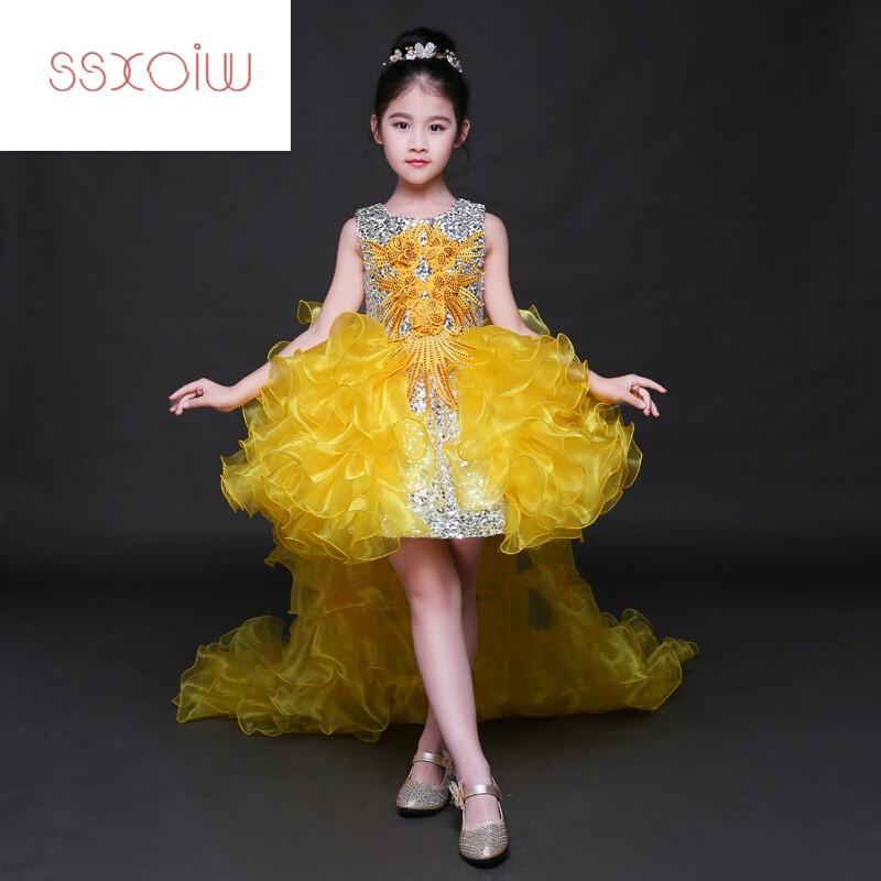 ssxoiw六一儿童礼服裙模特走秀表演服主持人女童演出服公主裙蓬蓬裙