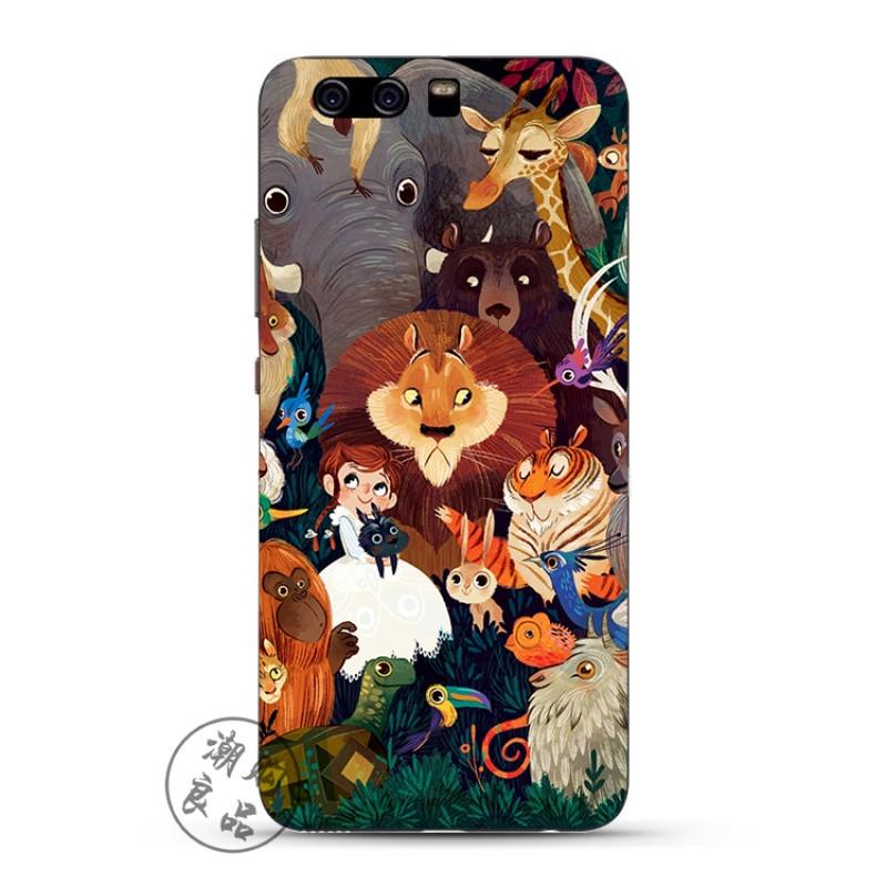 2017款华为p10/p9/p8/g9plus手机壳青春版硅胶透明欧美卡通可爱动物园