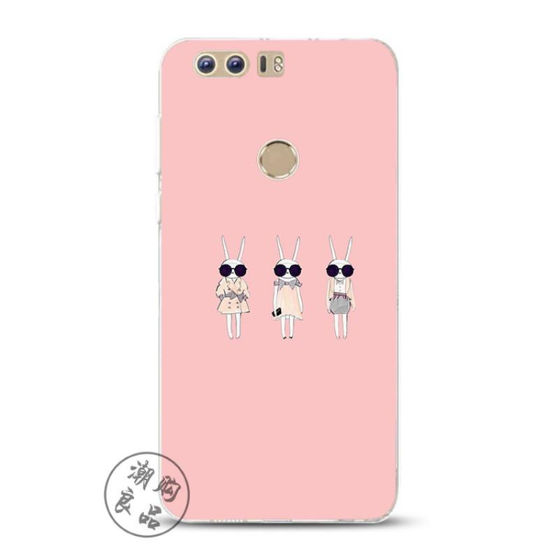 2017款华为荣耀v9/v8/7/8青春版magic手机壳硅胶超薄粉色可爱猫咪潮女