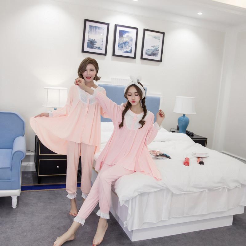 日系纯棉秋冬甜美可爱少女家居服睡衣长袖套装格子韩版全棉