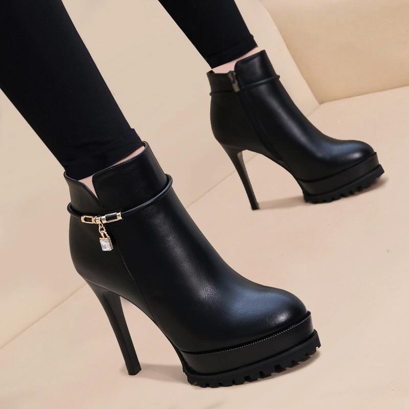 细跟马丁靴女短靴2017新款加绒圆头高跟鞋秋冬防水台性感夜店女靴图片