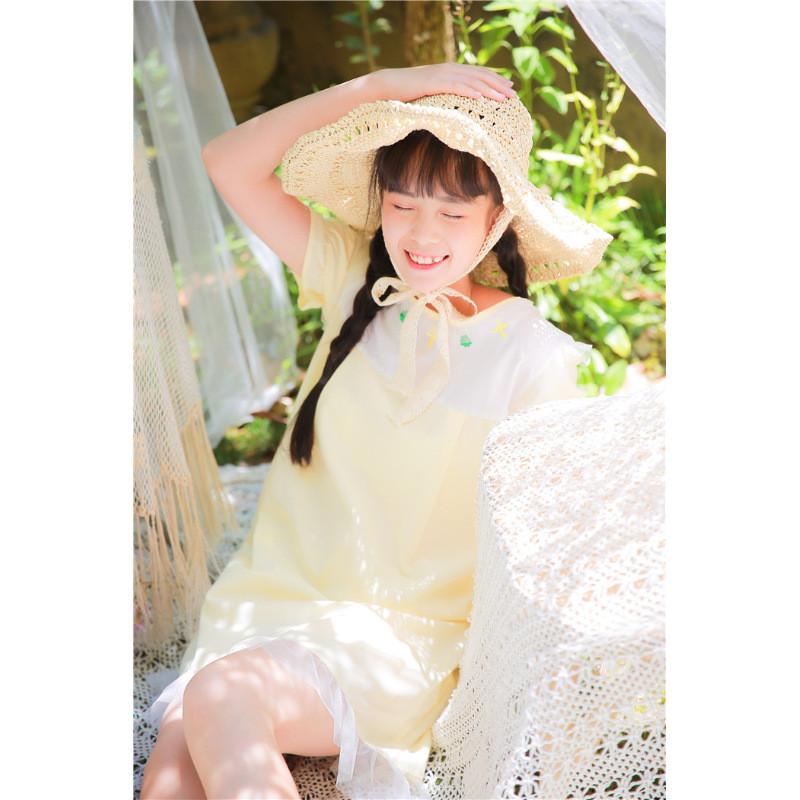日系可爱网纱木耳边荷叶边少女感淡黄色软妹连衣裙娃娃裙