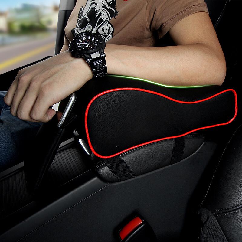 扶手箱垫通用汽车用品记忆棉手扶中央扶手箱套增高垫缓解手臂酸痛黑皮