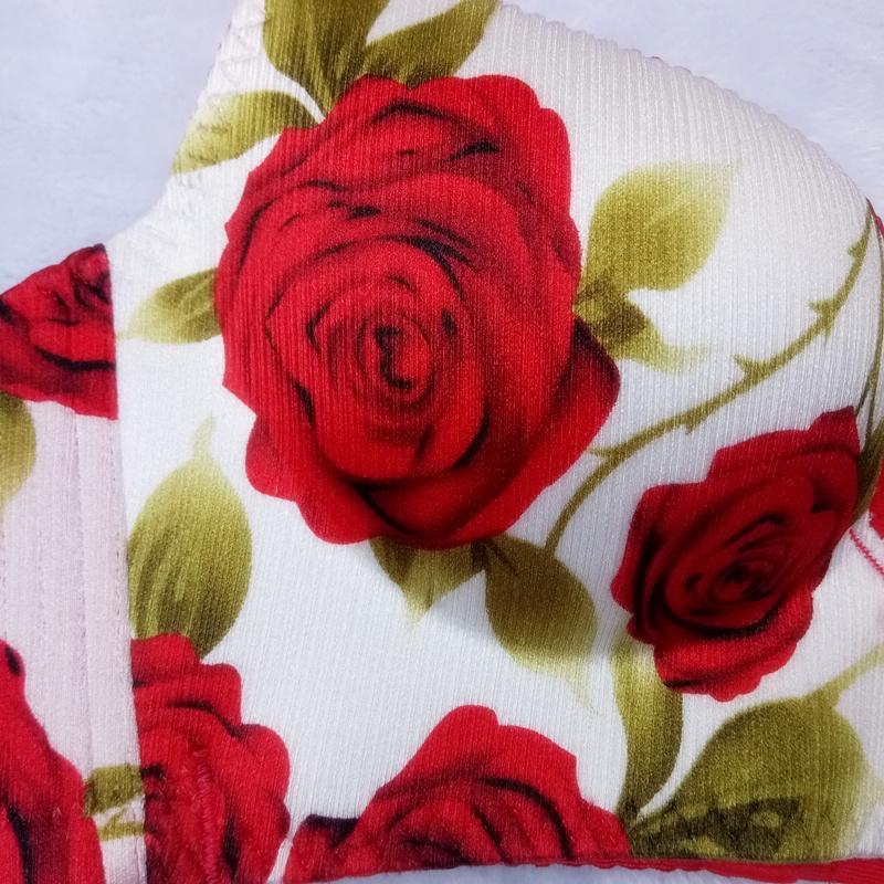 性感聚拢诱惑玫瑰花无痕无钢圈女内衣结婚本命年红色文胸套装包邮823