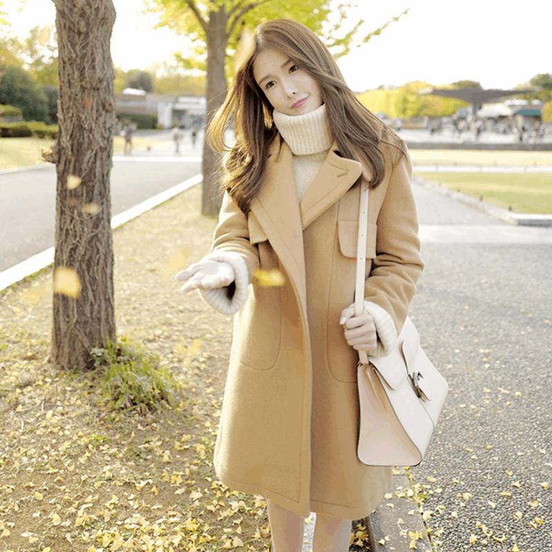 摩诗琳2017秋冬新款女装加厚羊毛呢子大衣中长款修身毛呢外套图片