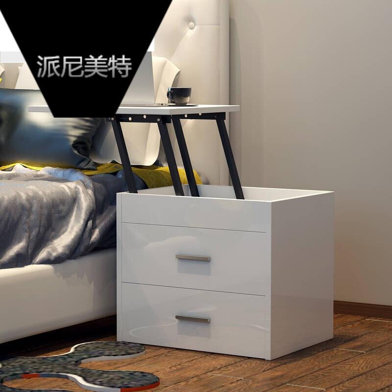 北欧现代简约风格卧室家具卧室床头柜床前柜时尚升降床头柜黑白色亮光