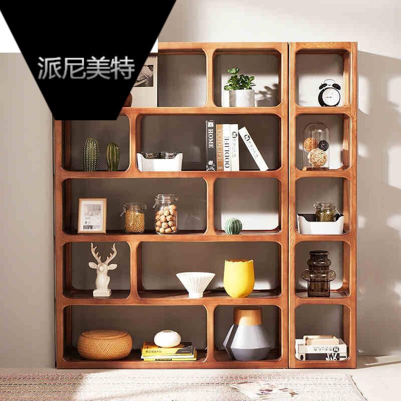 白蜡木间厅柜创意隔断玄关装饰柜镂空门厅柜书房书柜置物架博古陈列架