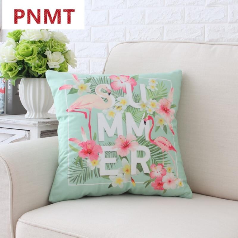 pnmt清新美式田园北欧绒抱枕套腰枕靠垫办公沙发靠枕火烈鸟-*双面含枕图片