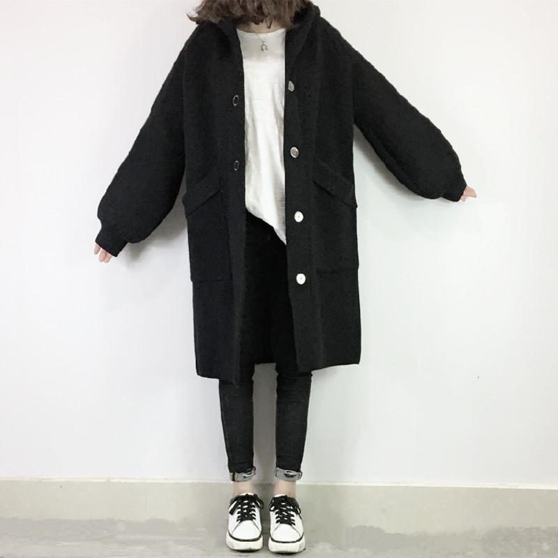 欧洲站2018冬装新款时尚中长款针织开衫宽松连帽提花毛衣外套女潮